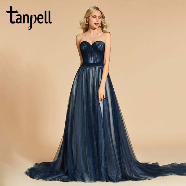 Tanpell sweetheart neck prom dresses tulle floor length sweep train dress  women sleeveless formal evening party custom prom gown fb4f69b5eaab