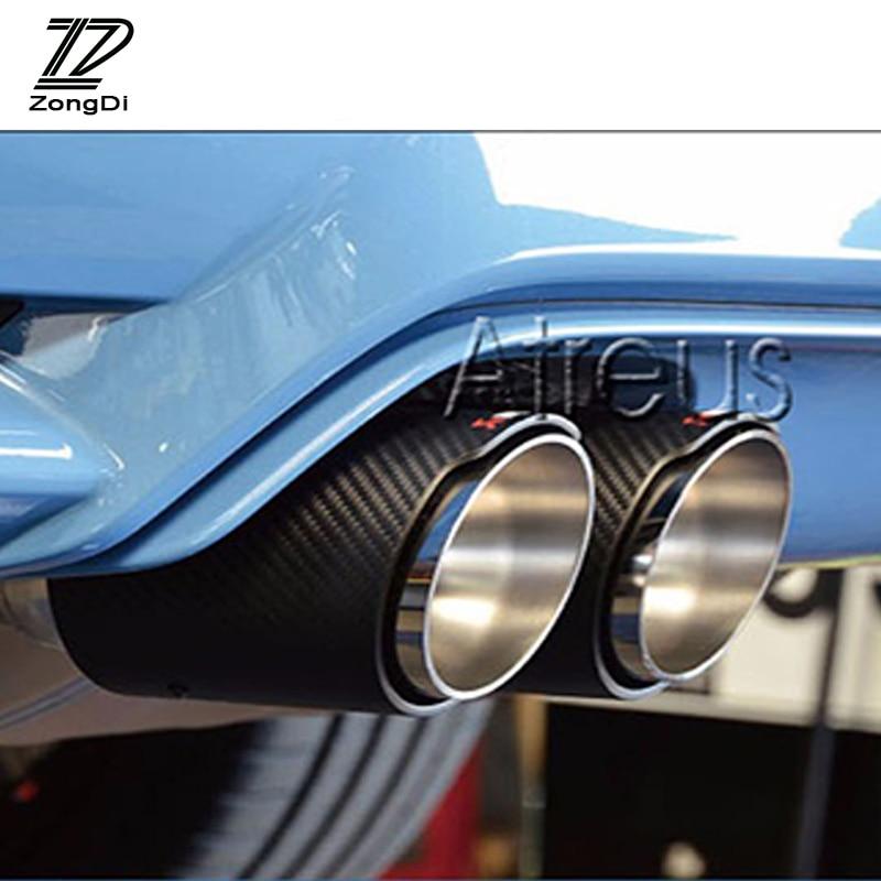 ZD 2pcs Car Carbon Fiber Exhaust Muffler Tips Pipe For Volkswagen VW Tiguan 2016 2017 Akrapovic
