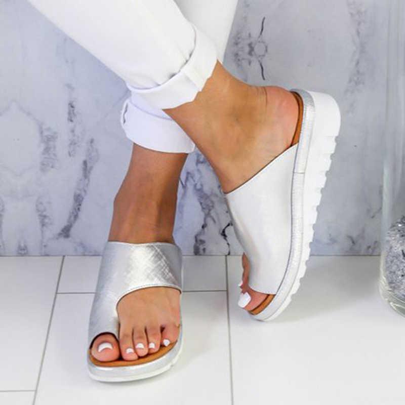 נשים עור מפוצל נעלי פלטפורמה נוחה שטוח בלעדי גבירותיי מקרית רך כף רגל בוהן תיקון סנדל אורטופדי פיקה מתקן