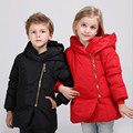 Crianças Meninos Casaco de Inverno Meninas Para Baixo Casacos Com Capuz Moda Sólidos Crianças Outerwear 2-7 T Branco Jaqueta de Pato Para Baixo 2016 New Arrival