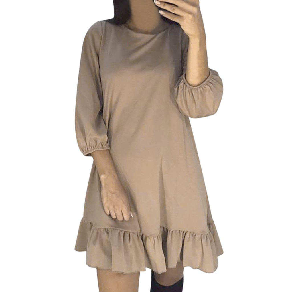 New Arrivals Women's O-Neck Stitching Ruffled Stitching Lantern Sleeve Mini Loose Dress Vestidos #1123 Hot Sale