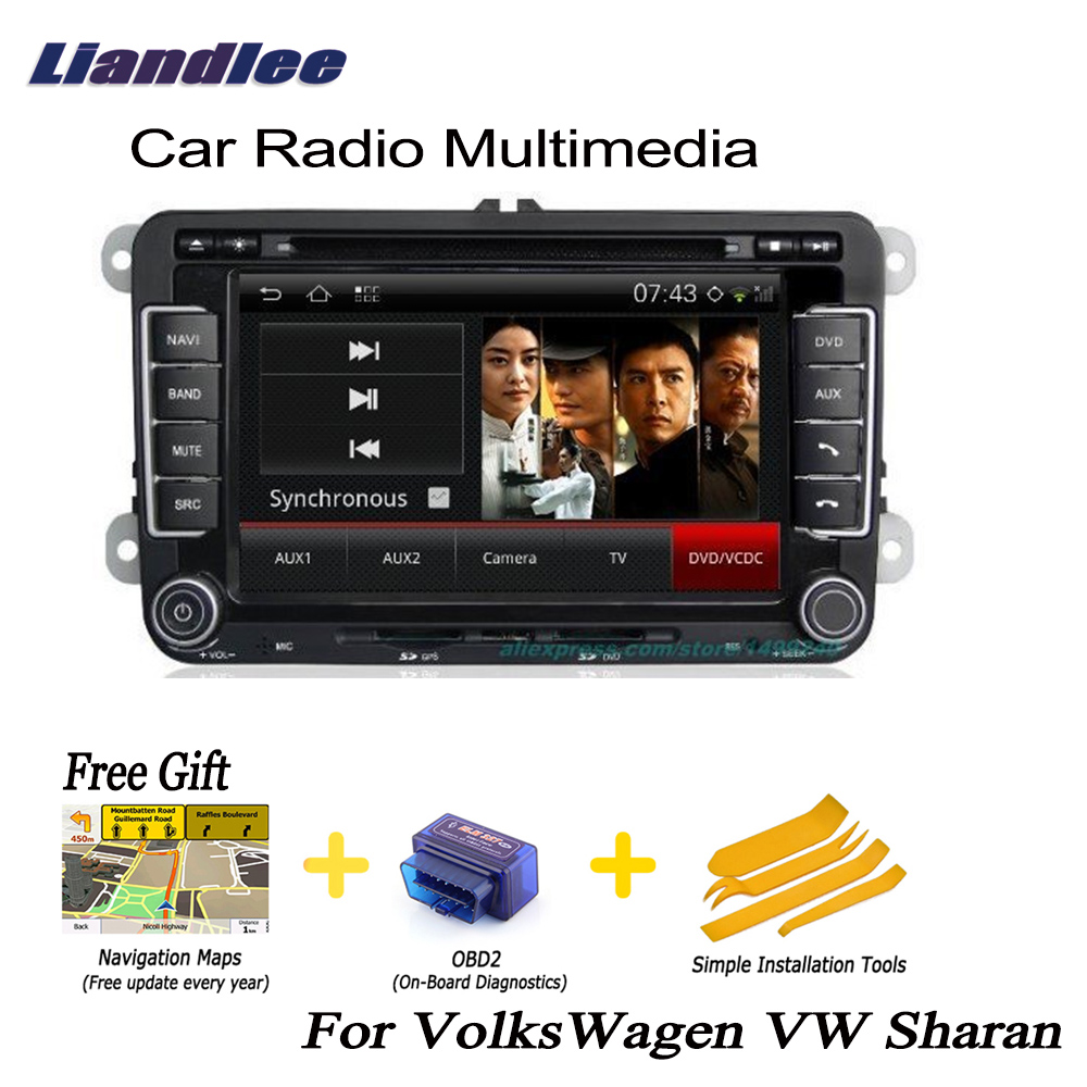 Liandlee For VolksWagen VW Sharan 2010~2013 din Car Android Radio GPS Navi Nav Maps CD DVD player Audio TV HD screen Media OBD2