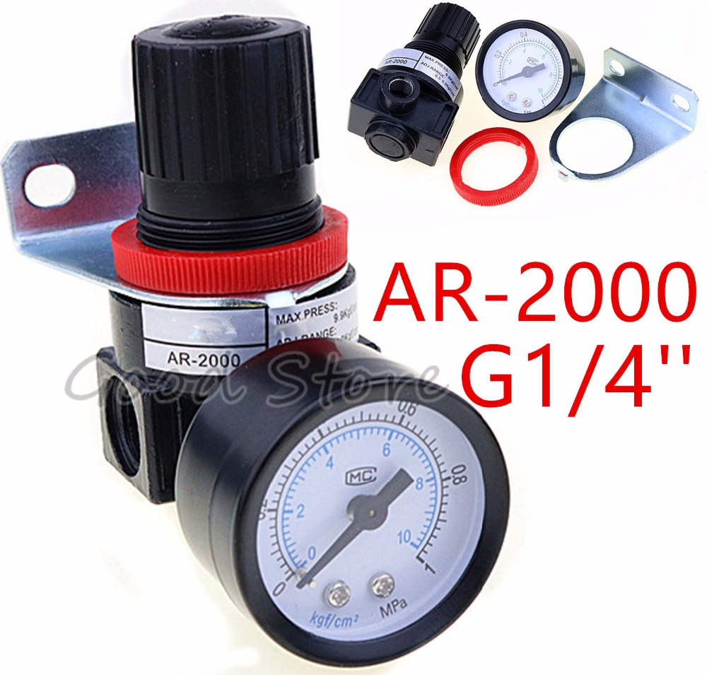 AR2000 G1/4 Air Control Compressor Pressure Relief Regulator Valve with Fitting AR-2000AR2000 G1/4 Air Control Compressor Pressure Relief Regulator Valve with Fitting AR-2000
