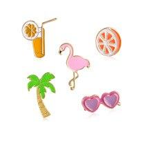 Broche Broche Badge Pins métal Broche Lot de 5Palmier Cocktail Lunettes de soleil Flamingo wsZrb4BoiR