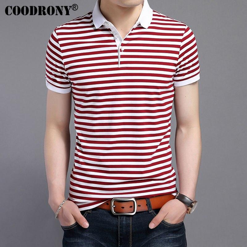 COODRONY 2019 Summer New Fashion Striped Turn-down Collar Tee Shirts Short Sleeve T-Shirt Men 100% Pure Cotton T Shirt Men S7611
