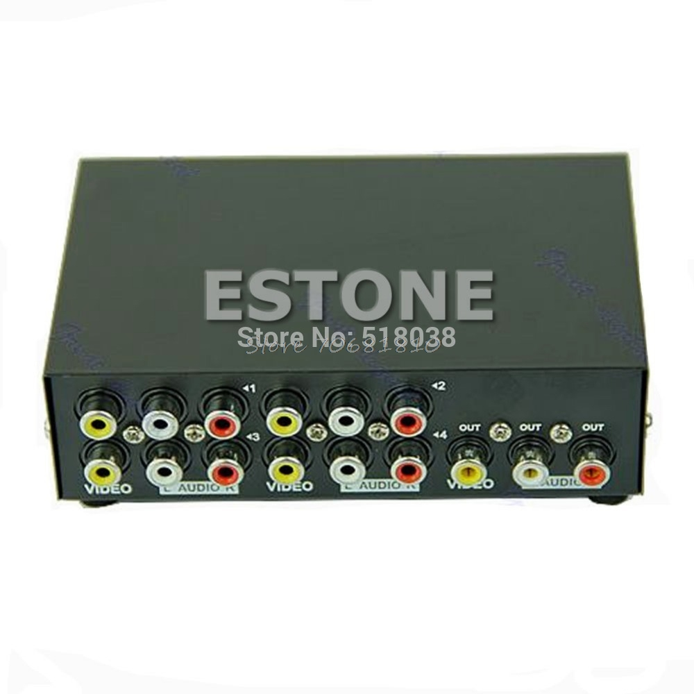4 Port Input 1 Output Audio Video AV RCA Switch Switcher Selector Box New