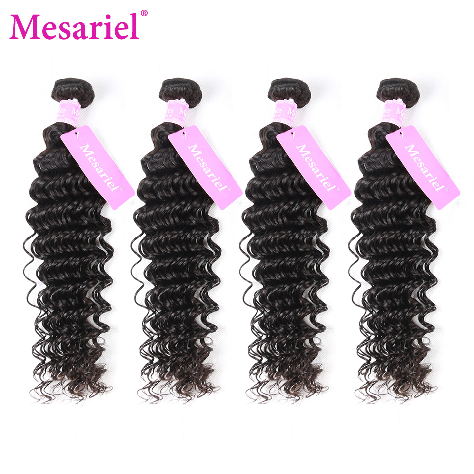 Mesariel Malaysian Deep Wave 4 Bundles with Free Part Closure 100% Human Hair Weaving Non-Remy Hair Extensions Natural Color