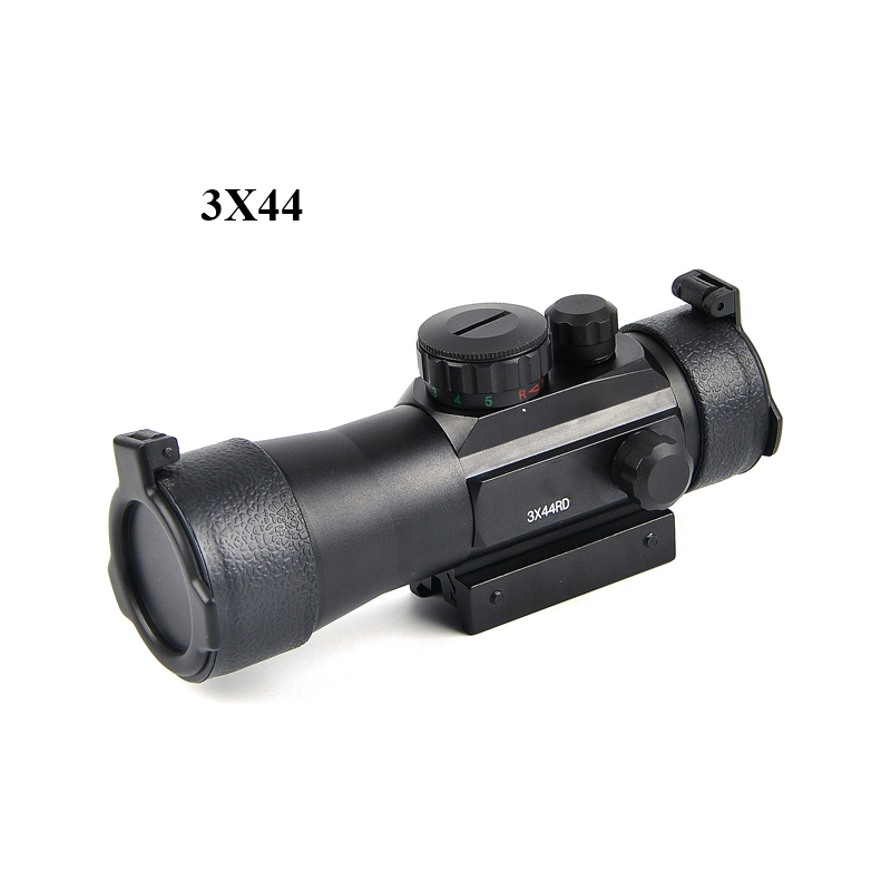 3X44RD Green Red Dot Sight Scope Tactical 11/20mm Rail Riflescope Fit Picatinny Mount Hunting Scopes