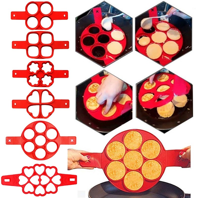 6 Styles  Pancake Egg Ring Maker Silicone Nonstick Pancakes Cheese Egg Cooker Pan Flip Eggs Mold Baking Accessories For Kitchen