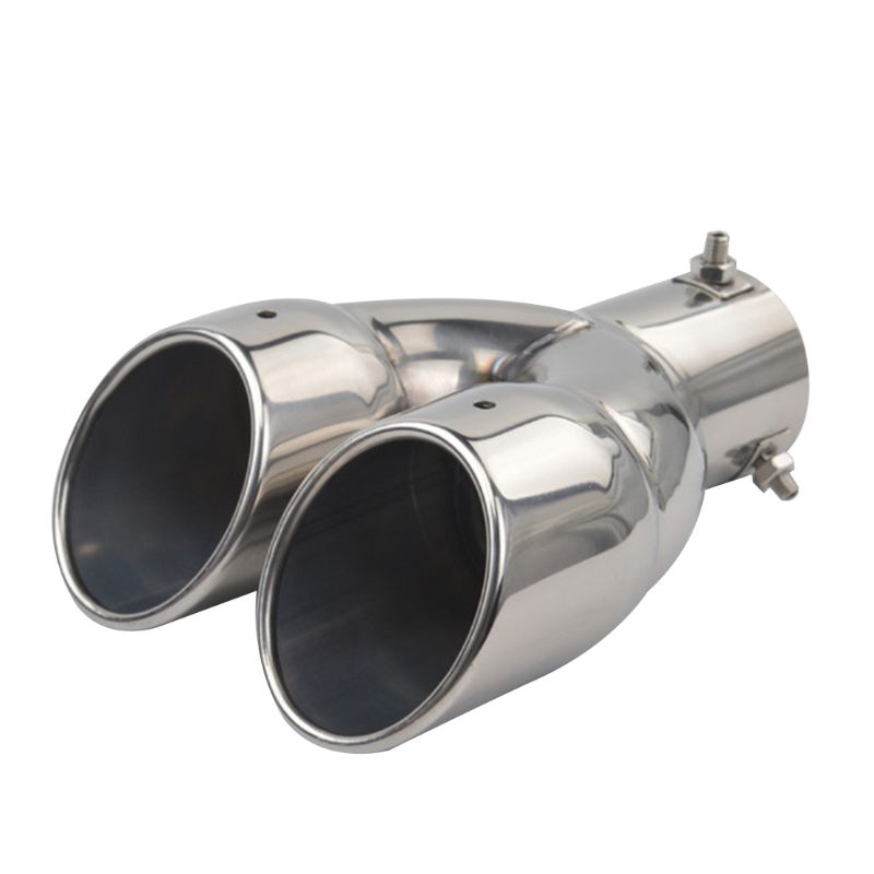 muffler exhaust dual exhaust tip tailpipe 2 5 inch inlet 3 outlet 8 1 length polished stainless 1 2mm thickness double wall
