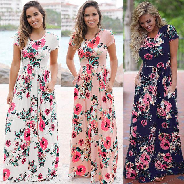 S-3XL Elegant Women Robe Summer 2018 Short Sleeve Printed Maxi Dress Fashion Sexy Boho Dress Tighten Waist Long Dress Vestidos