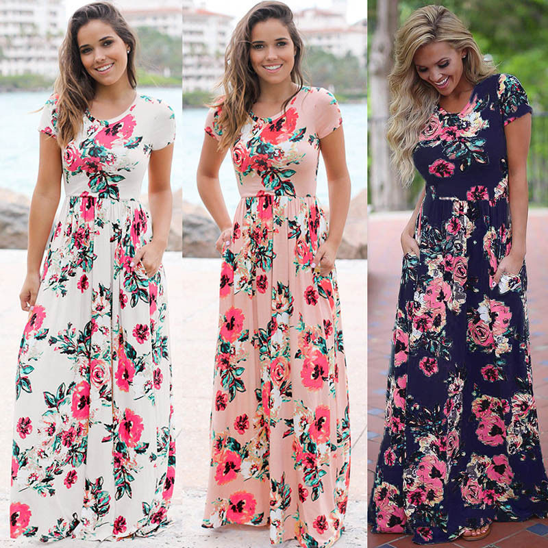 S-3XL Elegant Women Robe Summer 2018 Short Sleeve Printed Maxi Dress Fashion Sexy Boho Dress Tighten Waist Long Dress Vestidos