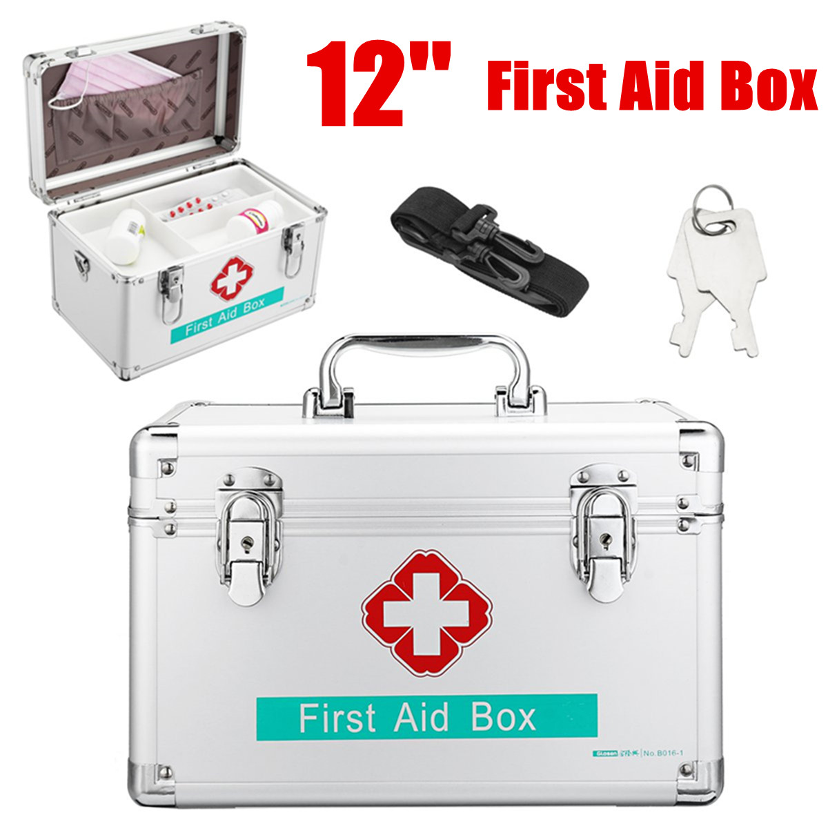 Boîte verrouillable de récipient de stockage de médecine de cadre en aluminium Durable de trousse de premiers soins de 12 pouces pour le lieu de travail de voyage à la maison médical de ménage