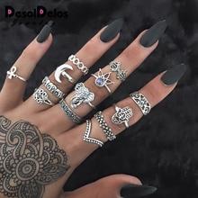 New Retro Women Rings Antique Silver Color Punk Midi Finger 13PCS/Set Vintage Elephant Lotus Behomian Ring Set Jewelry