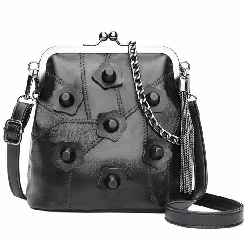 5e6414ca30 Cuir véritable dame sacs Rivet cadre Messenger s dame embrayage sac à main  sacs à main