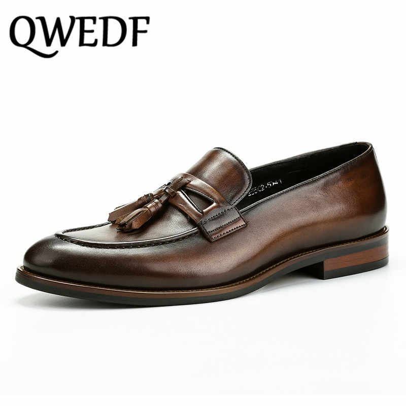 QWEDF Summer business casual shoes Men Loafers Shoes black Genuine Leather Sapatos handmade Tassel Zapatos Footwear Male G2-50