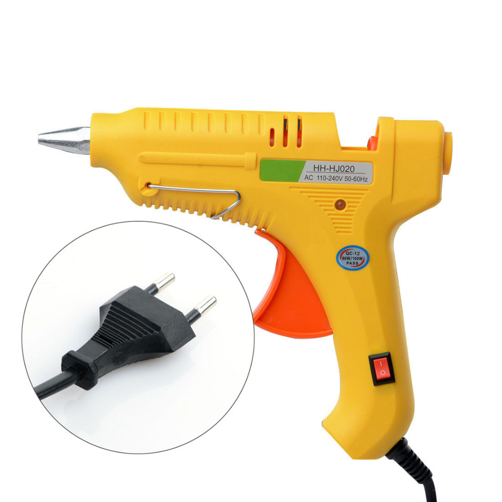 US EU Plug AC 100-240V 80 100W Electrical Hot Melt Glue Gun With Switch Indicator Light Home Glue Guns Heating Craft Repair Tool