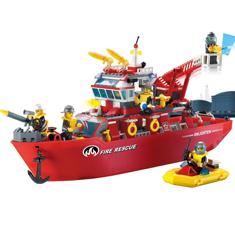 ENLIGHTEN City Police Firemen Rescue boat Building Blocks Sets Bricks Model Kids Toys Gift For Children Compatible Legoe 890pcs city police station building bricks blocks emma mia figure enlighten toy for children girls boys gift