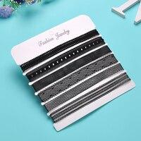 Yanqueens 6 Pcs/pack Black Lace Leather Velvet strip Choker Necklace Torques Collar Women Statement Jewelry Chocker