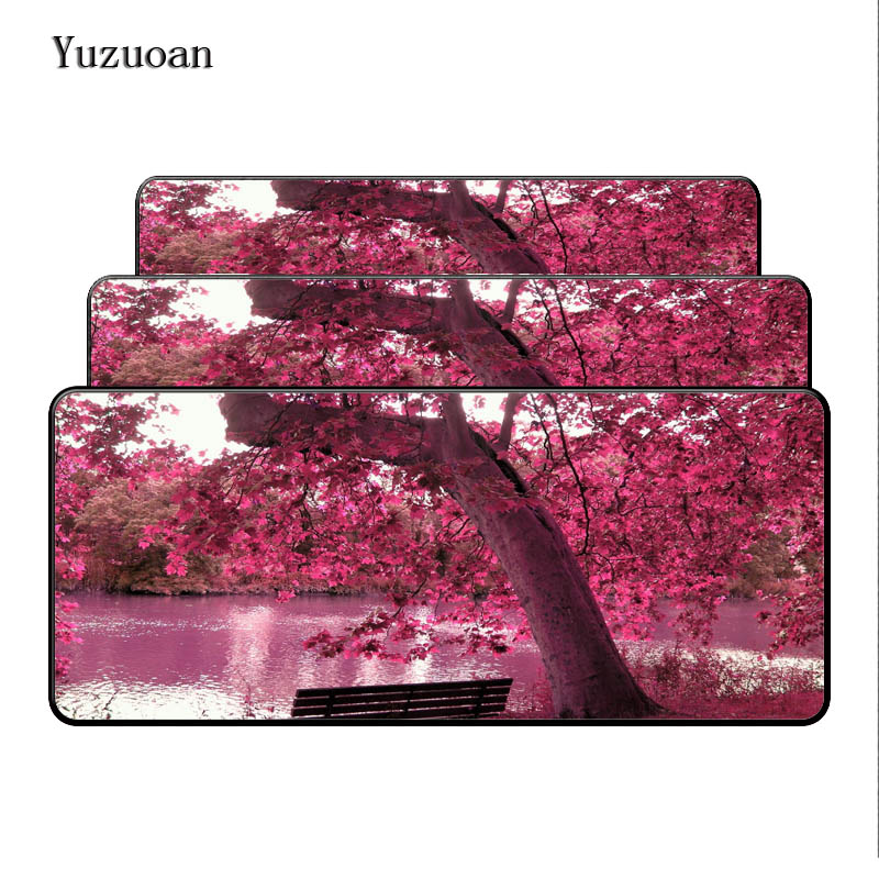Yuzuoan Large Lock Edge Red Leaves Mousepad Comfort Soft Rubber Mice Play Mat Computer Desk Mouse pad for Optical Laster Pad