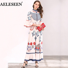 AELESEEN Summer Bohemian Women Long Dresses Luxury Flare Sleeve Runway Fashion 2018 Plus Size Abstract Print Designer Dress