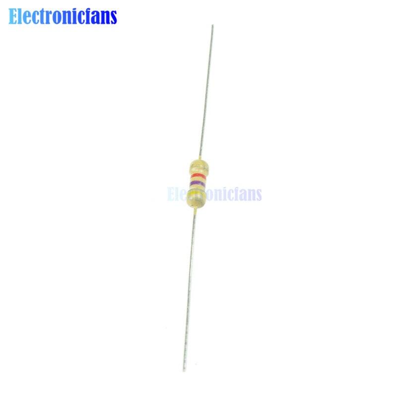 50 Uds 4,7 K 4K7 Ohms 0,25 W 1/4W 5% resistores de película de carbono resistencia