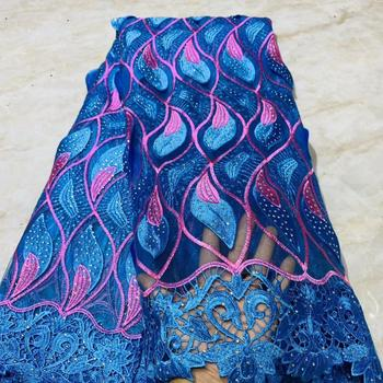 African Stones Lace Fabric 2019 High Quality Lace French Net Embroidery Tulle Lace Fabrics For Nigerian Party Dress    NLYJUN231