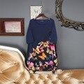 Alta qualidade 2017 nova primavera chegada o-pescoço meia manga de seda estilo de moda várias borboletas em linha reta acima do joelho dress mulheres