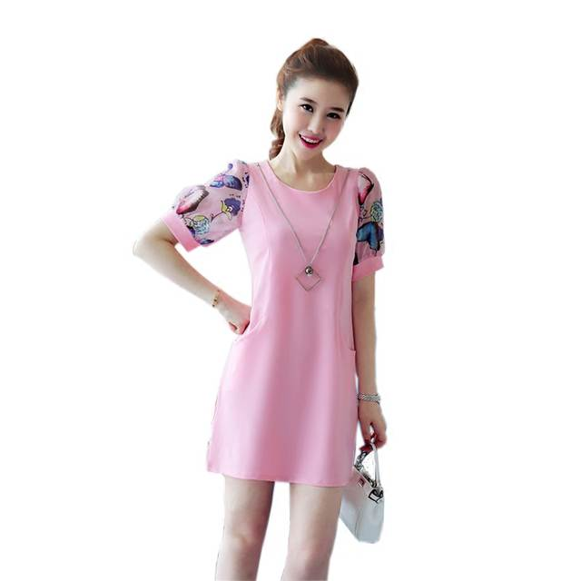 3a1cbfc5dd99f New Stylish Summer Chiffon Floral Sleeve Women Dresses with Pockets Cute  Girls Robes for Party Birthday Wedding B9T XS S M L