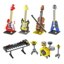 LOZ DIY Musical Instrument Mini Building blocks Models Guitar Bass Drum Kit Keyboard Violin Craft Present Gift