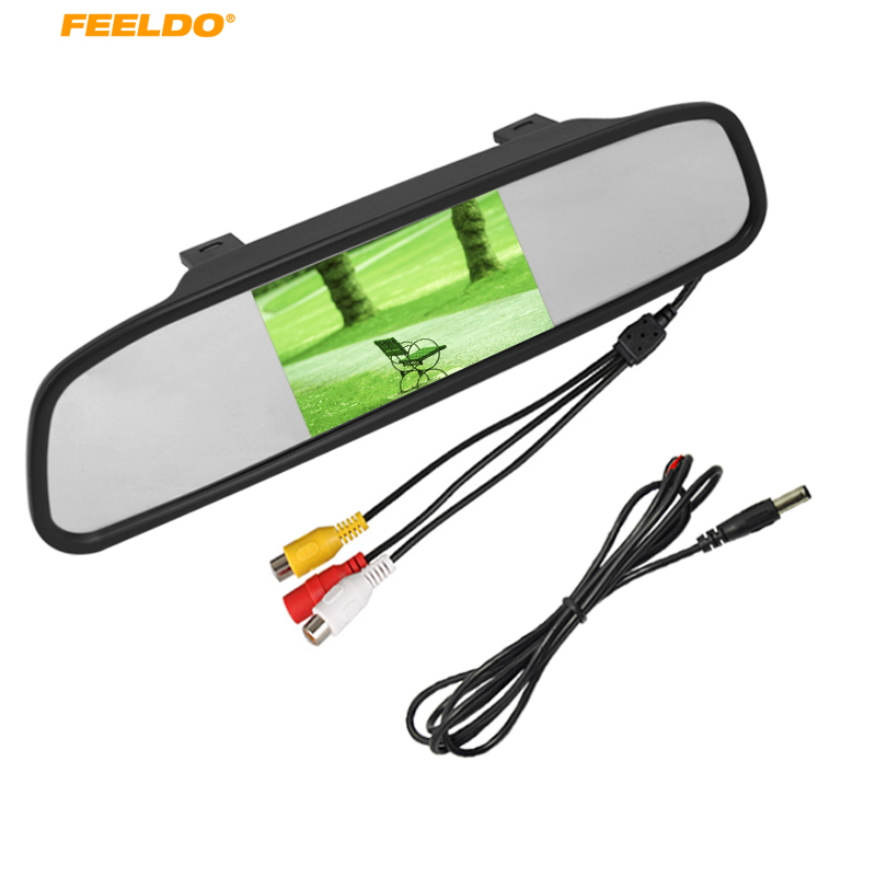 FEELDO Car Parking Rear View 4.3 Inch LCD TFT Mirror Monitor With 2 Video Input For Rear View Camera DVD/VCD Video #AM4619