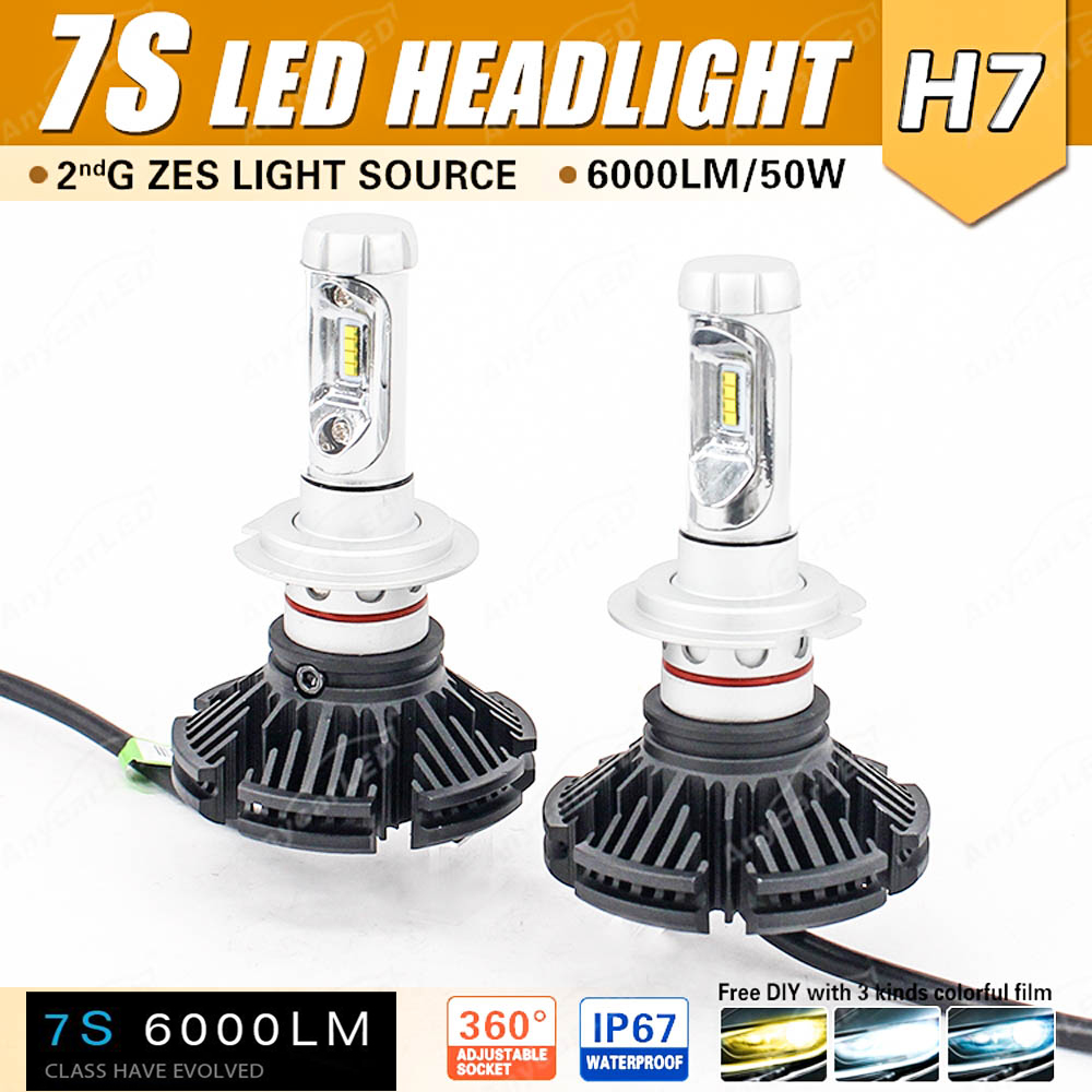 1 Set H7 7S LED Headlight 50W 6000LM LUMILED LUXEON ZES 2nd Chips Fanless All in