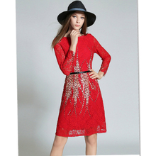 Europe Early Autumn New Slim Lady A Lace Long Sleeved Dress of Word Printing OL Office