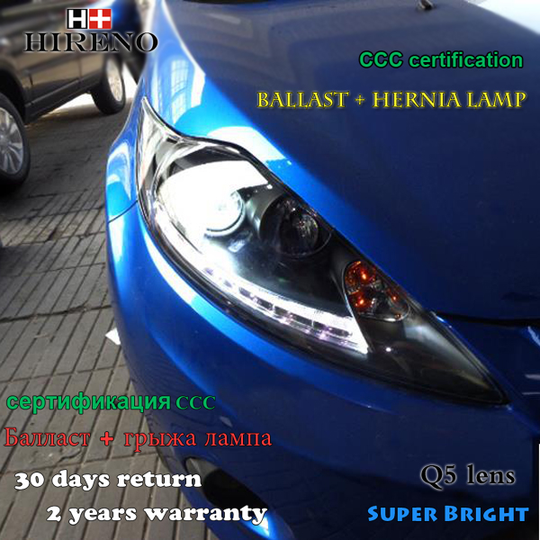 Hireno Car styling Headlamp for 2009-2013 Ford fiesta Headlight Assembly LED DRL Angel Lens Double Beam HID Xenon 2pcs
