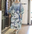 2016 Summer unique neckline loose full dress multicolor Women's long dress silk Robe 18061-9