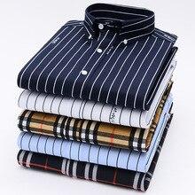 Original Aoliwen shirts for men long sleeve stripe print Cas