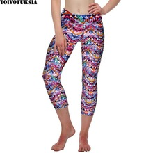 TOIVOTUKSIA Brushed Milk Silk Soft Women Leggins Printed Fashion High Waist Elastic Cropped Capri Velvet Leggings