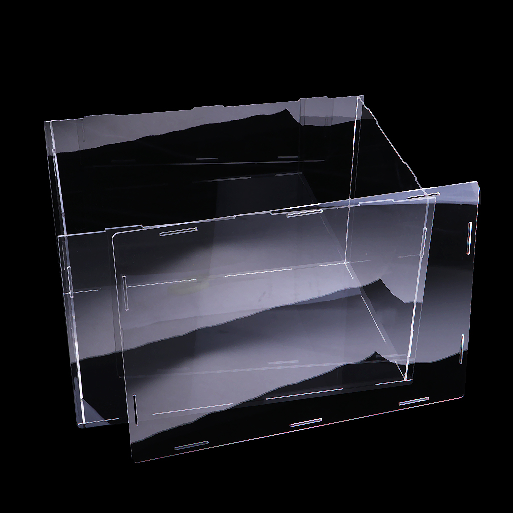 Transparent Acrylic Display Case Tray Dustproof Storage Show Box 36x16x16cm