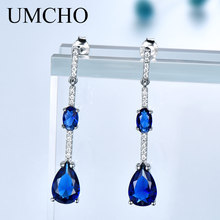 UMCHO Solid 925 Sterling Silver Drop Earrings For Women Blue Sapphire Wedding Handmade Jewelry Simple Modern Gift