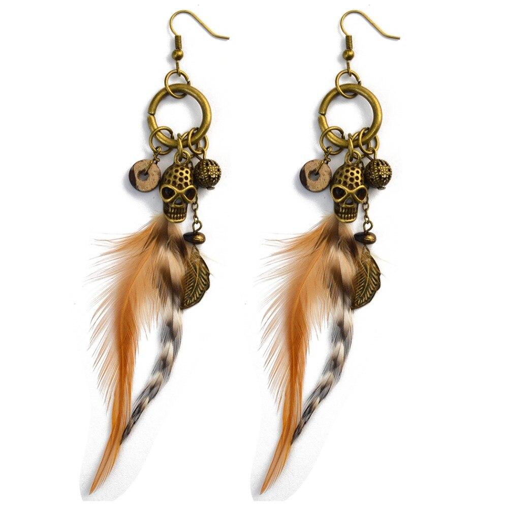 91e646218ec385 Bohemian Feather Beads Hook Earrings for Women Ethnic Exaggerated Long  Skull Leaf Tassel Pendant Drop Earring Jewelry Brinco