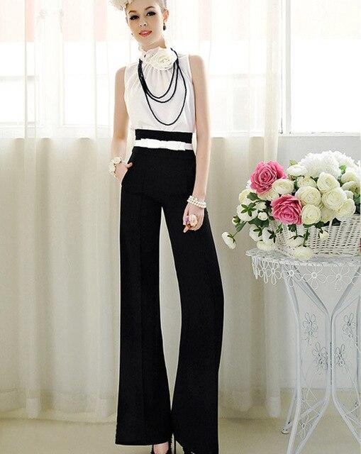2015 New Plus Size Long Casual Trousers Women High Waist Loose Chiffon Pants Summer Formal Wide Leg Pants feminina Free Shipping