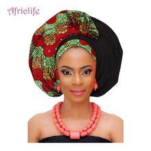 National Decorative Scarf Shawls Women African Head Wrap Traditional Fashion Wax Printed Ankara Cotton Headscarf AF002