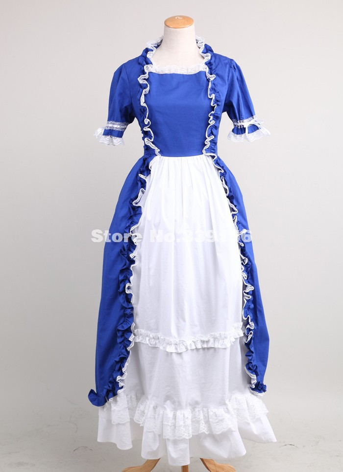 Brand New Elegant Blue Short Sleeve Lace Gothic Victorian Dresses Floor-Length Victorian Ball Gowns