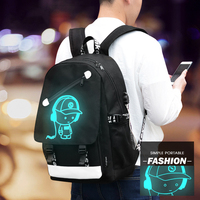Fashion Noctilucent Backpack Luminous Cartoon School Sport Outdoor Bags Travel Unisex Teenager Knapsack With USB Charging