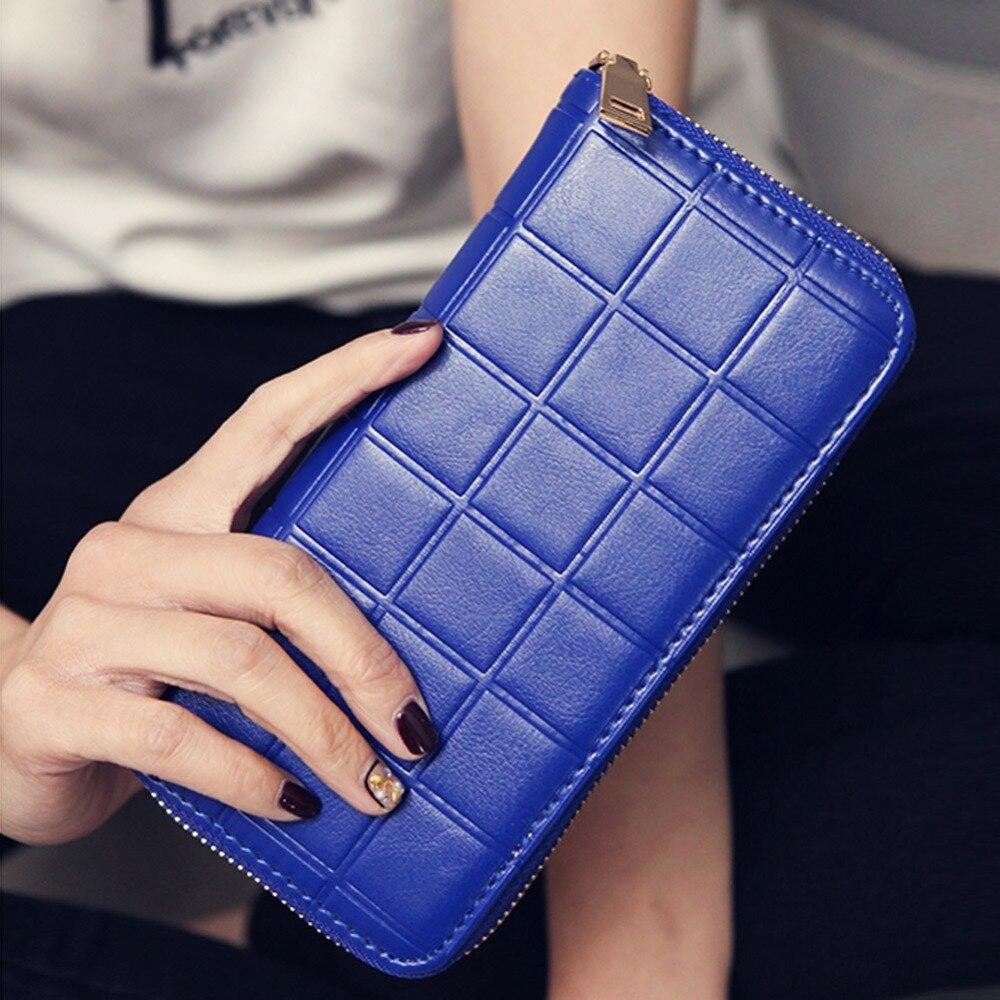 New Fashion Women Wallets Plaid Clutch Long Wallet Female Card Holder Zipper Purses Vintage Women Clutch Bag Brands