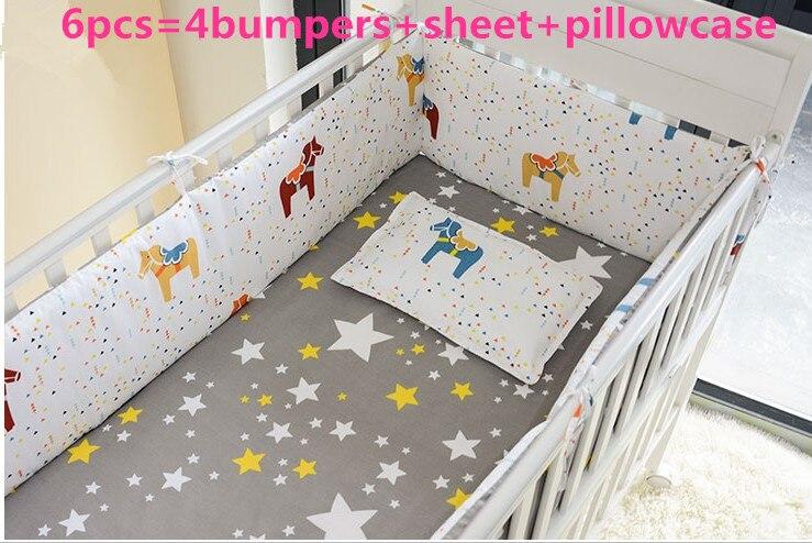 Promotion! 6/7PCS Baby Bedding Sets 100% Cotton Cartoon Crib Baby Bumper, Crib Bumpers, 120*60/120*70cm
