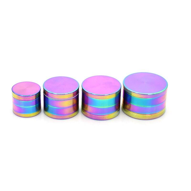 New Rainbow Color Herb Grinder 4 Parts 40/50/55/63mm in Diameter Metal Zinc Alloy Crusher Smoking Hand Muller Tobacco Grinder