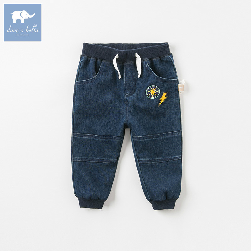 DBA7845 dave bella autumn baby boys fashion jeans children full length kids denim pants infant toddler trousers autumn women fashion jeans high waist button denim jeans full length pencil pants feminino trousers
