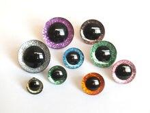 20 pces 9mm/12mm/14mm/16mm/18mm/20mm/25mm claro trapézio plástico brinquedos de segurança olhos + glitter nonwovens-pode escolher o tamanho e a cor