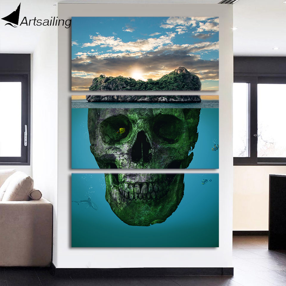 3 Piece pantings HD printed Canvas Art Skull Mountains Framed Islands for living room decor Poster and Prints Pictures NY-7665C